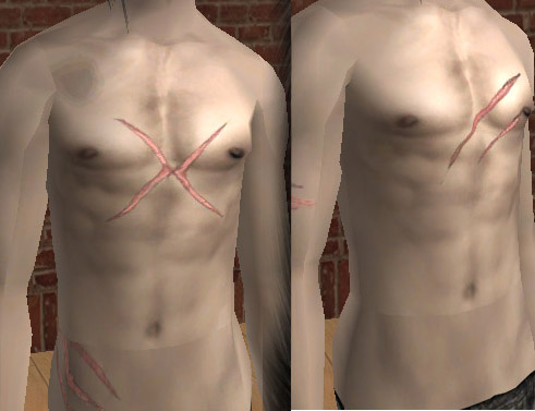 Torso scars, manly chest wounds! For any skintone
