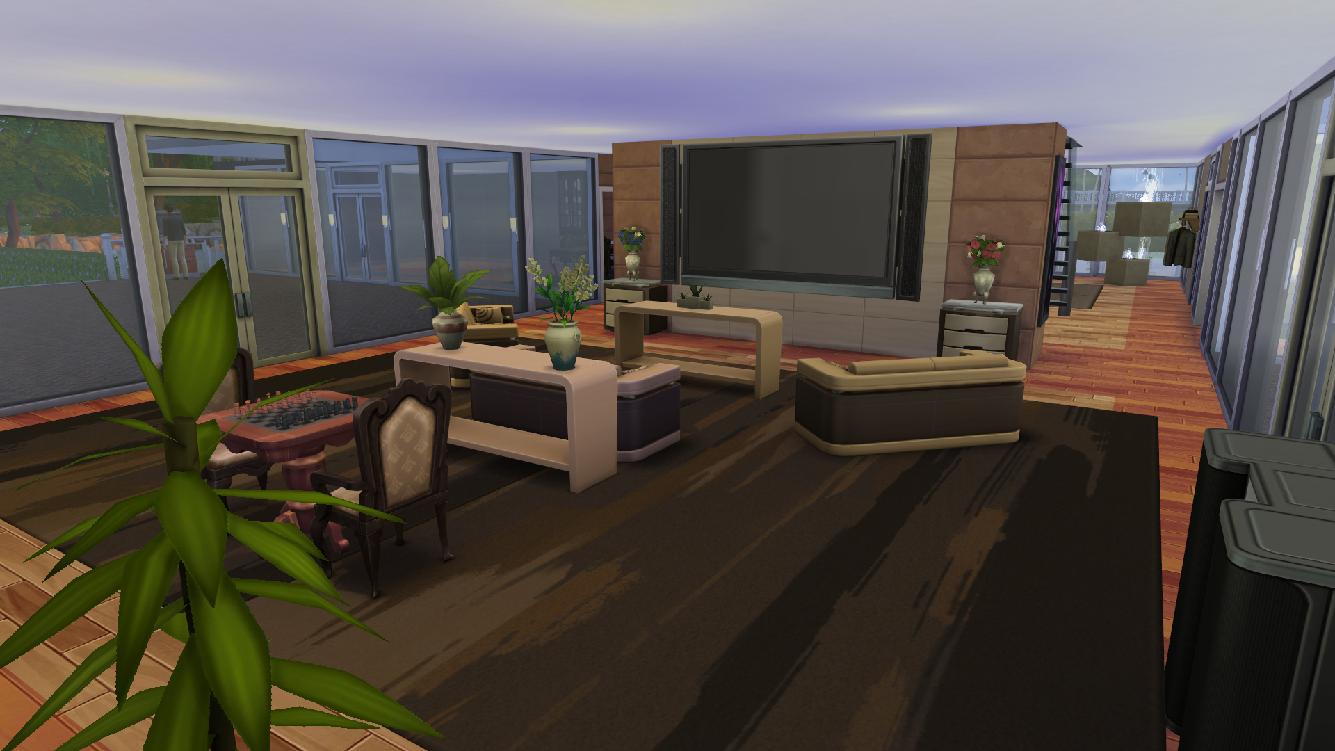 Mod the sims reflections a large modern spacious mansion for Modern living room sims 4
