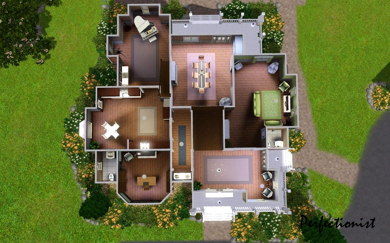 Mod the sims 39 michelle mansion 39 no cc for Mansion floor plans sims 4