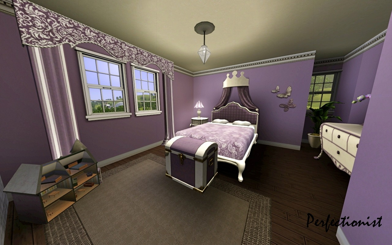 Mod the sims 39 3 bedroom green country style house 39 ts3 for Sims 4 bedroom ideas