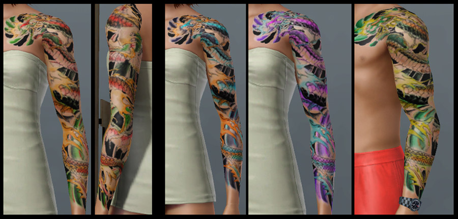 Dragon Sleeve 3 Color/Pattern areas. This uses artwork by dirtyallover at