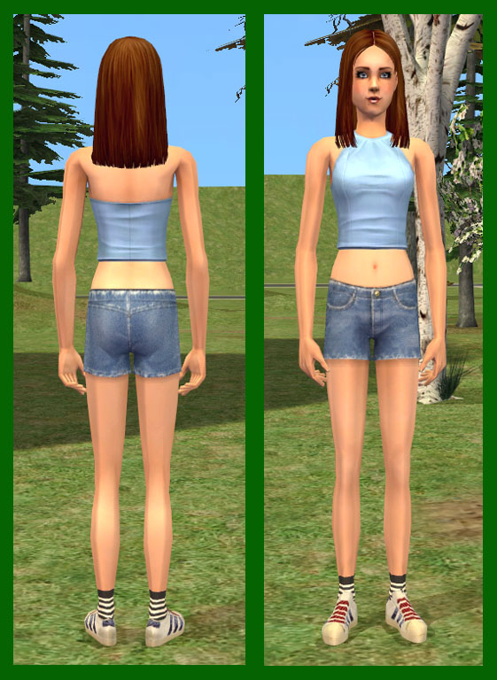 Mod The Sims - Jean shorts and Adidas for Teens