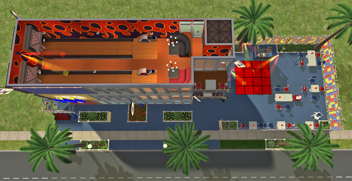 Mod the sims splitsville luxury lanes sushi steaks Bowling alley floor plans