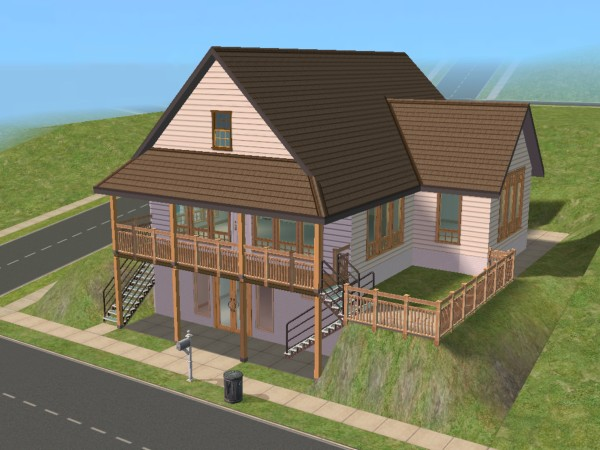 Mod the sims daylight basement cottage for Daylight basement house