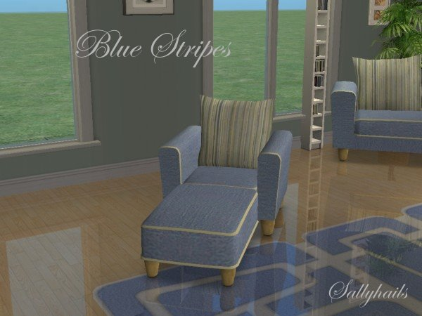Mod the sims blue stripes seating set for Chaise game free download