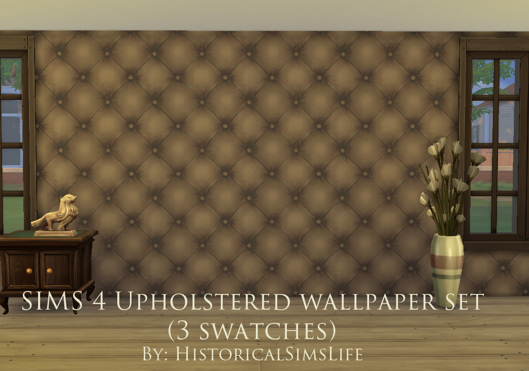 Mod the sims upholstered panels wallpaper set for Padded wall wallpaper