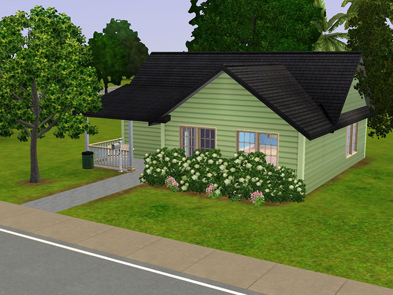 Mod the sims lil green bungalow a small home for your sims for Minimalist house sims 2