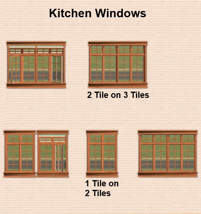 Kitchen Window Dimensions: Maxis Matrix/Craftsman Window Set With Recolorable Interior & Exterior Frames