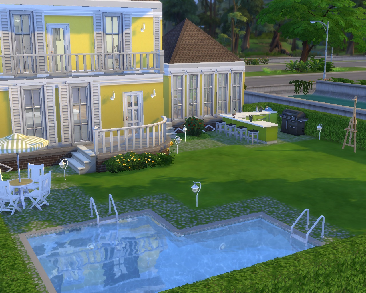 Mod the sims yellow home life no cc for Pool design sims 4