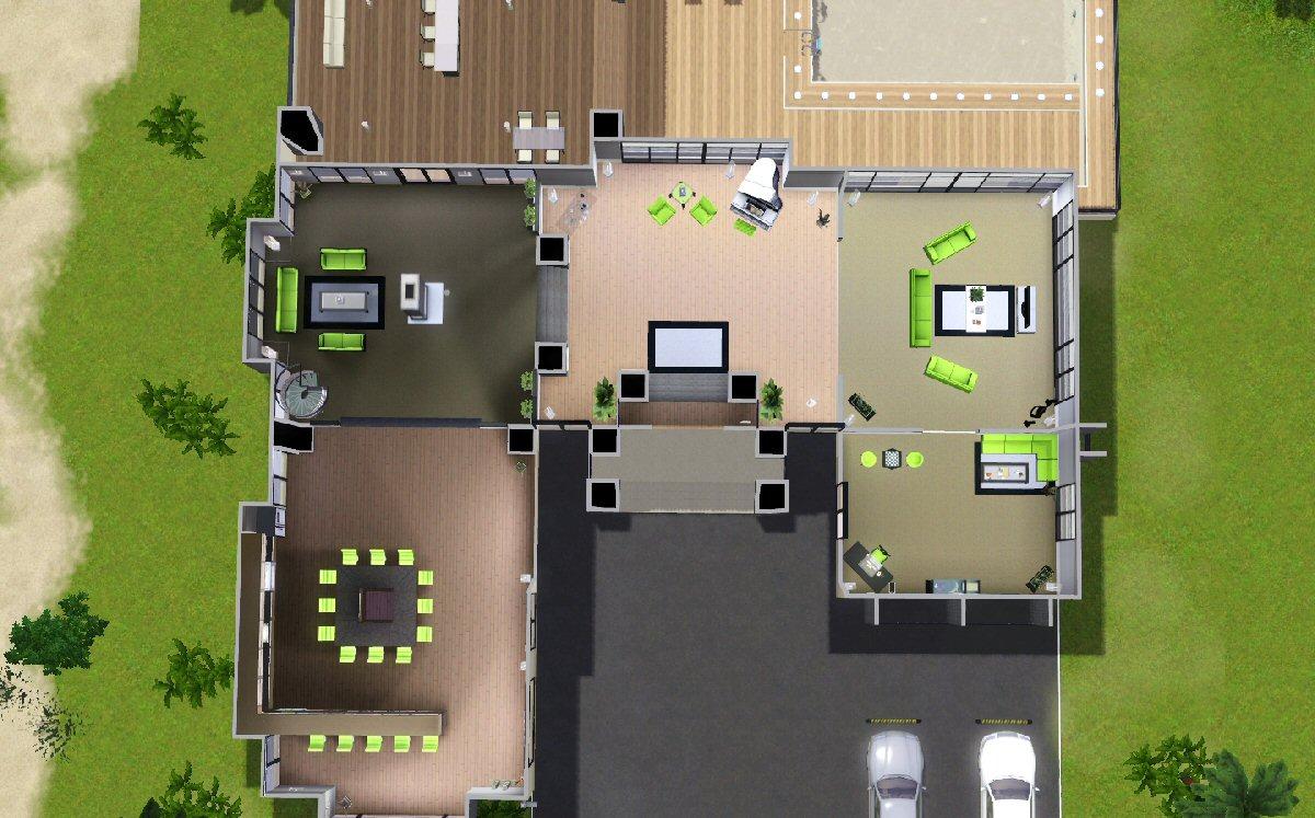 mod the sims maison moderne. Black Bedroom Furniture Sets. Home Design Ideas