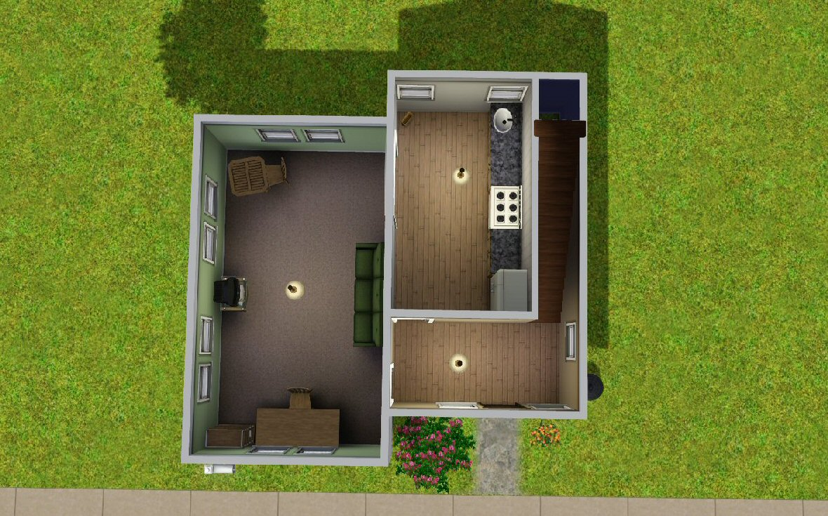 Mod the sims the budget starter house for Small starter house plans