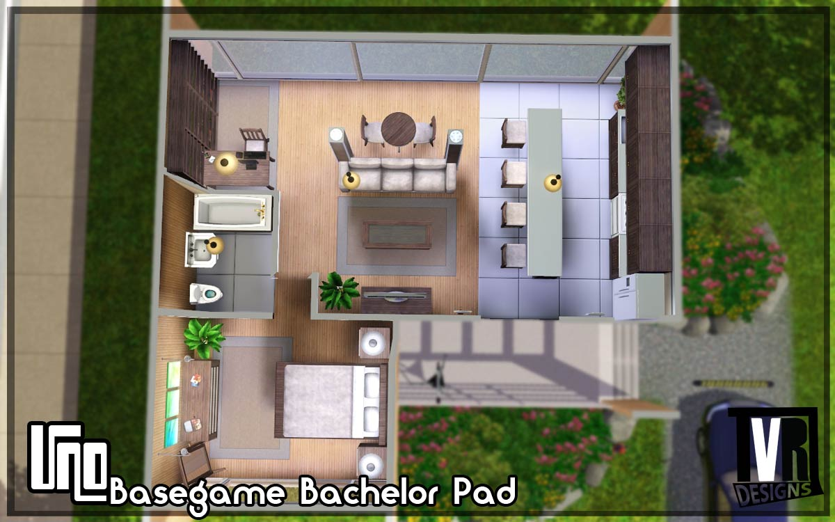mod the sims uno basegame bachelor pad no cc by tvrdesigns. Black Bedroom Furniture Sets. Home Design Ideas