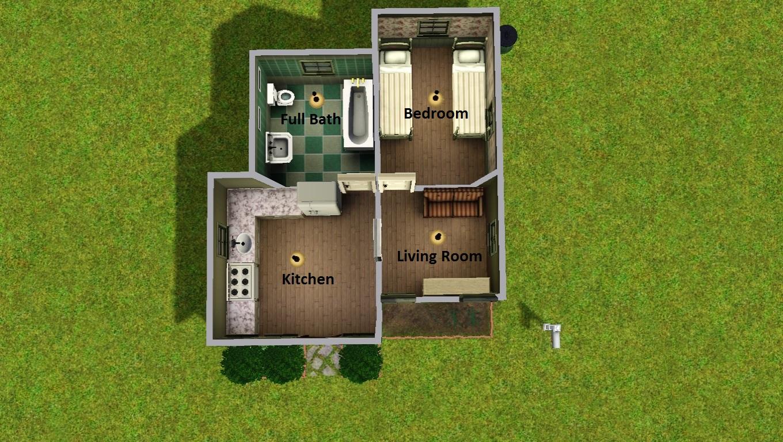 Mod the sims tiny house 4 2 beds 1 bath no cc for 2 bathroom tiny house