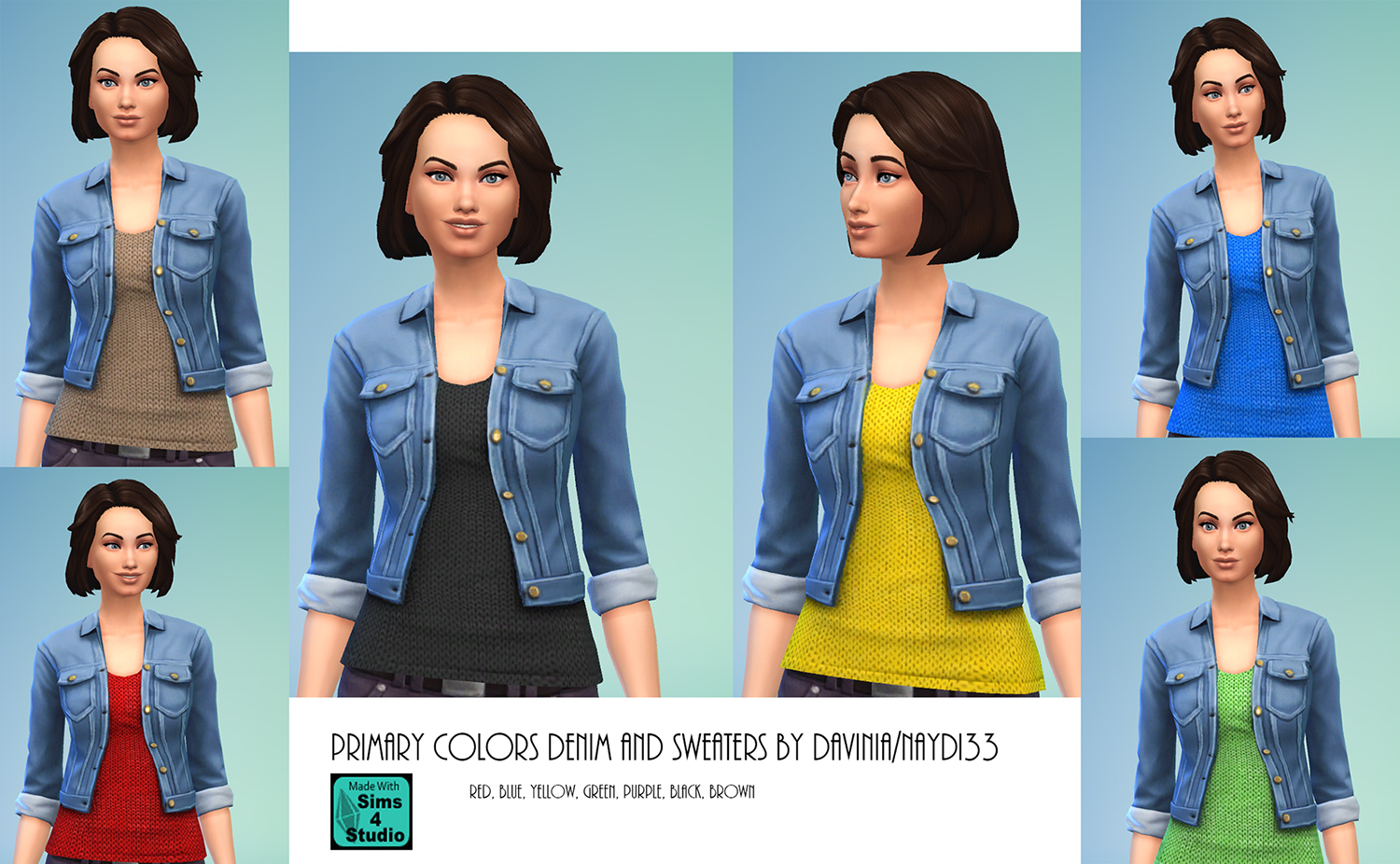 Mod The Sims , Denim jacket with 7 sweaters