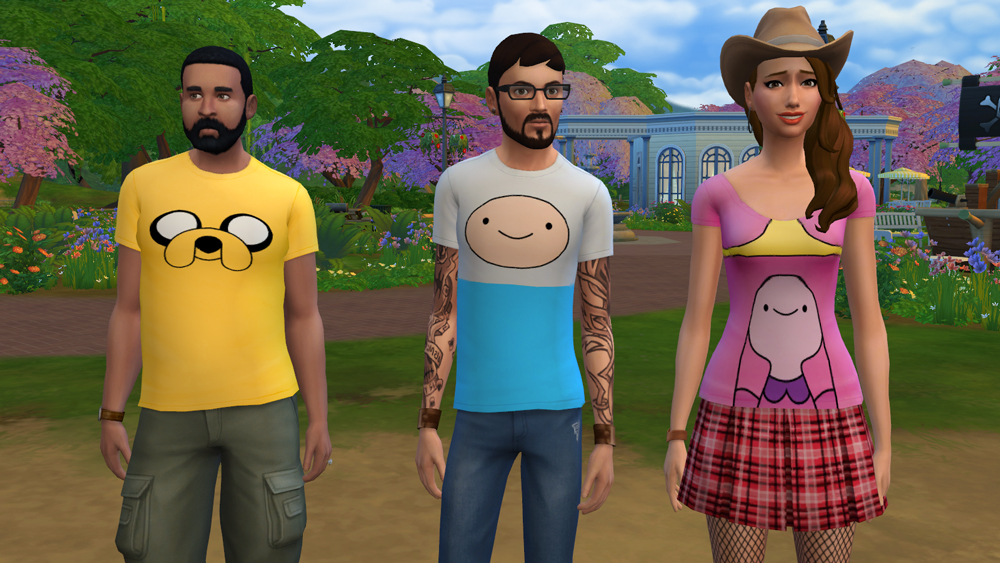 mod the sims adventure time tops for male and female