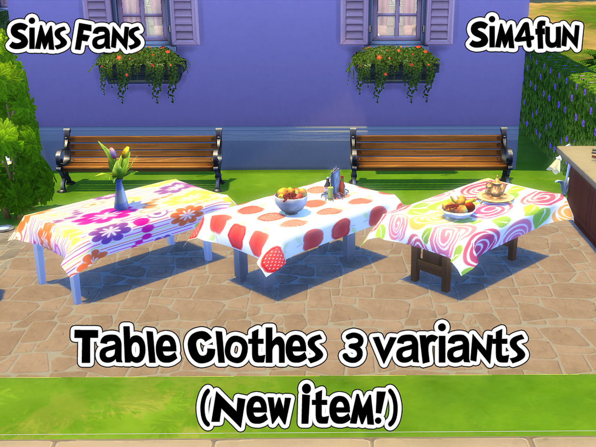 Mod The Sims - Round and Rectangular Tablecloths for Sims 4 - Updated