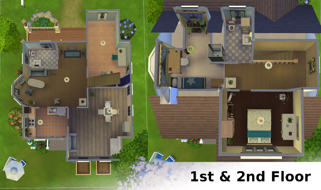 Mod the sims cozy for three a house for small family for Sims 2 house designs floor plans