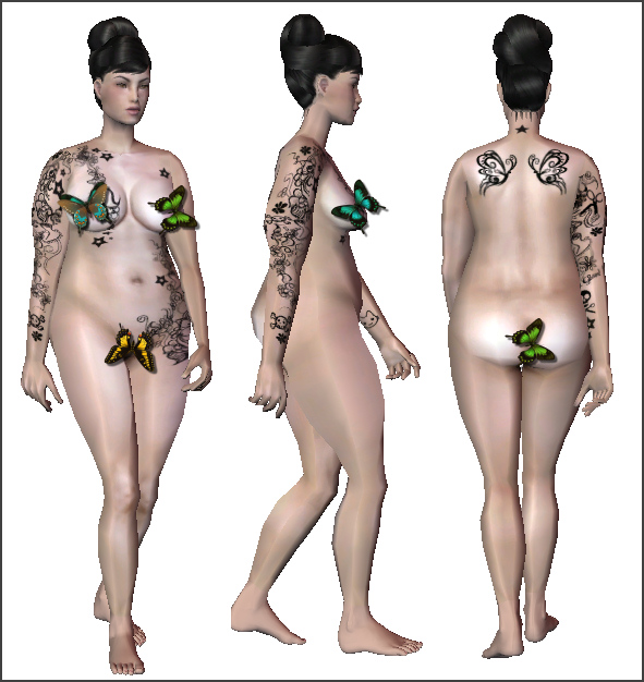Mod The Sims - Tattooed Plus Size Model: Viviane
