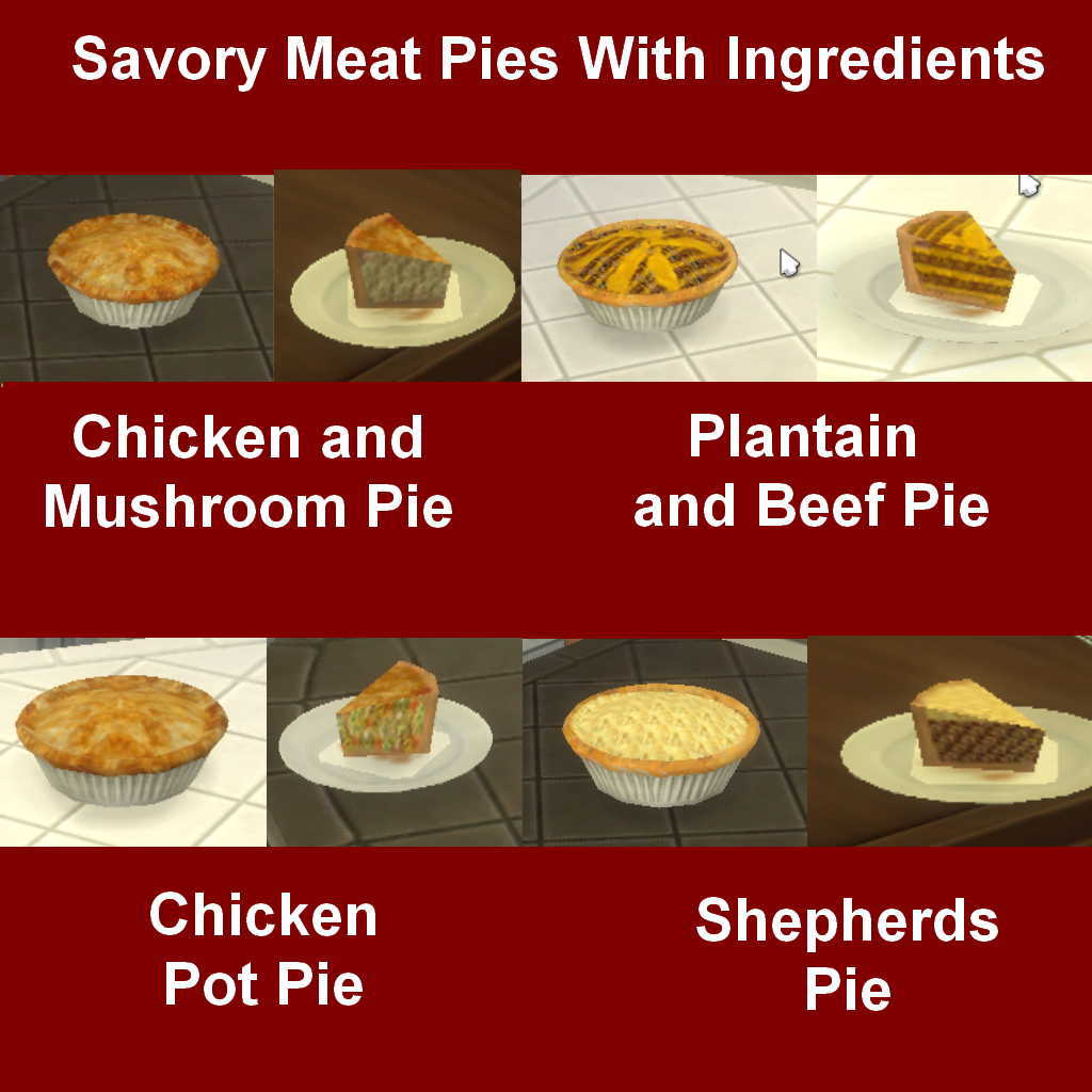 Mod the sims savory meat pies with ingredients for Customiser cuisine